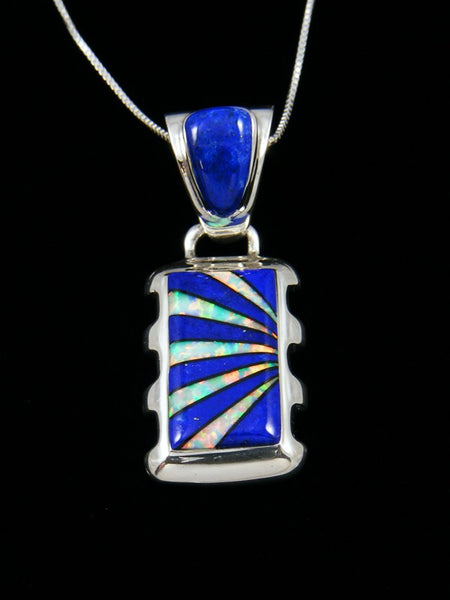 Native American Inlay Lapis and Opal Pendant