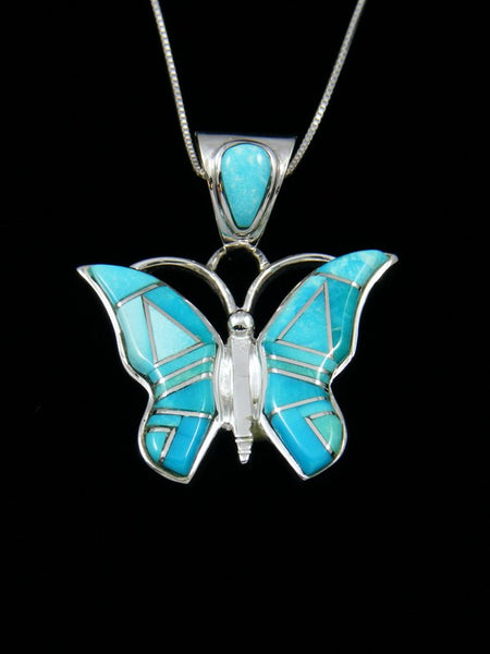 Native American Turquoise Inlay Butterfly Pendant