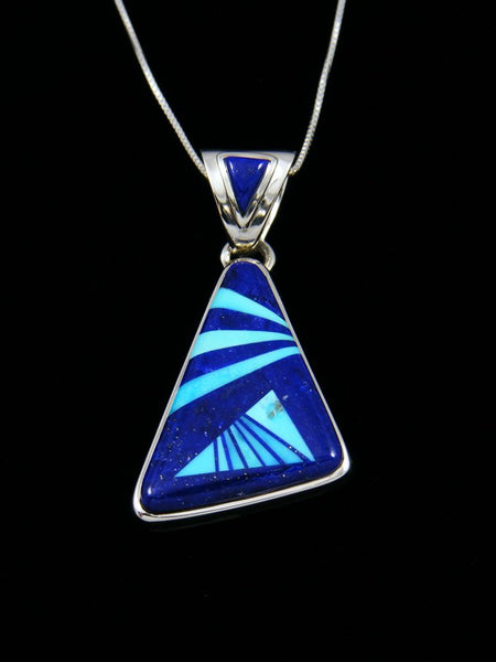 Navajo Lapis and Turquoise Inlay Pendant
