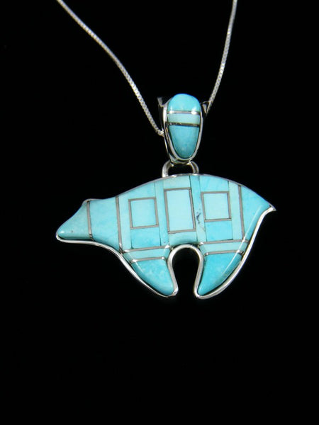 Native American Inlay Turquoise Reversible Bear Pendant