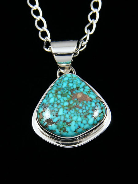 Native American Indian Jewelry Kingman Spider Web Turquoise Pendant