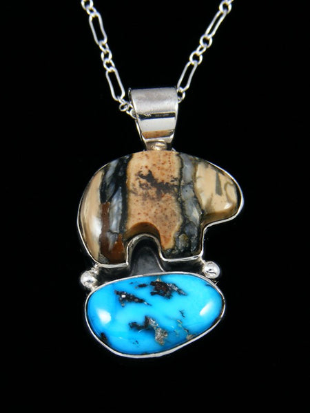 Native American Indian Jewelry Mammoth Tooth and Turquoise Pendant
