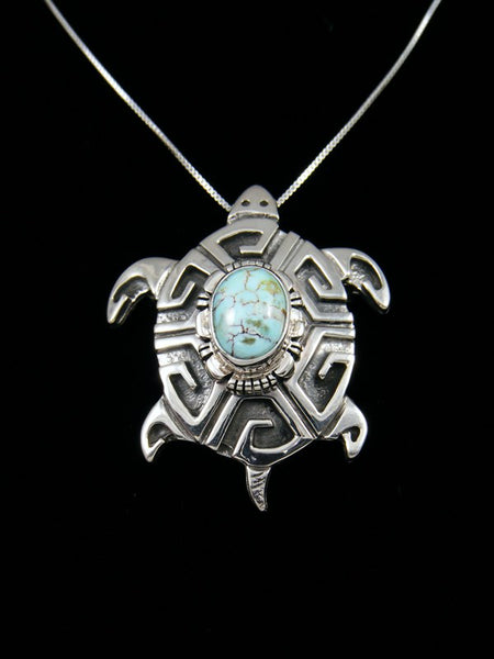 Native American Sterling Silver Dry Creek Turquoise Turtle Pin/Pendant