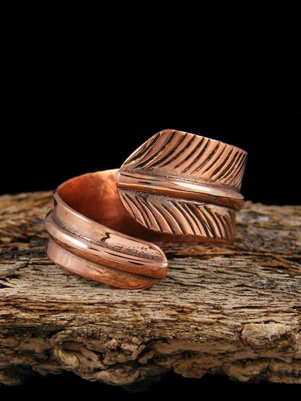 Copper Feather Ring Adjustable