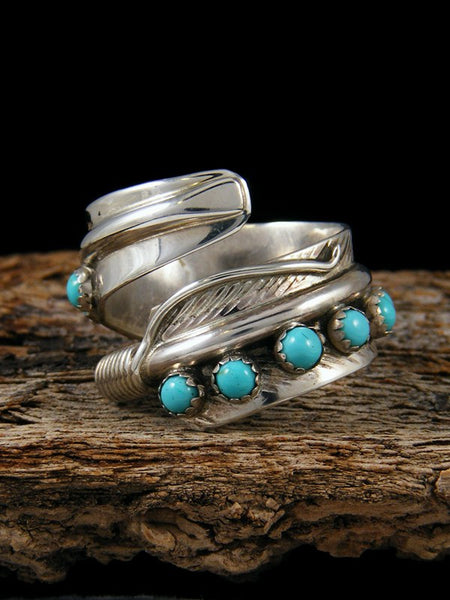 Sterling Silver Turquoise Feather Ring Adjustable