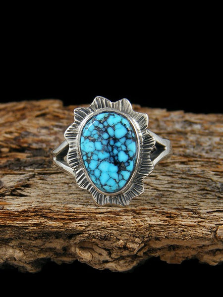 Kingman Black Web Turquoise Ring, Size 4.5