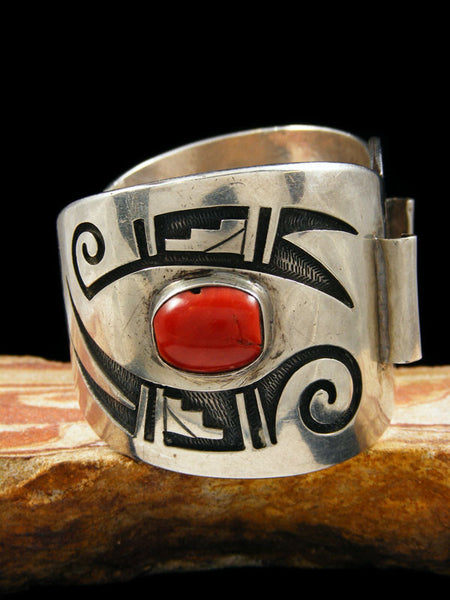 Old Pawn Indian Jewelry Hopi Sterling Silver Cuff Watch by Manuel Hoyungowa - PuebloDirect.com - 3