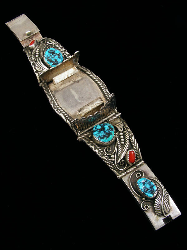 Old Pawn Indian Jewelry Coral and Turquoise Link Watch by Vintage Jewelry - PuebloDirect.com - 1