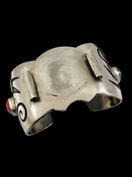 Old Pawn Indian Jewelry Hopi Sterling Silver Cuff Watch by Manuel Hoyungowa - PuebloDirect.com - 1