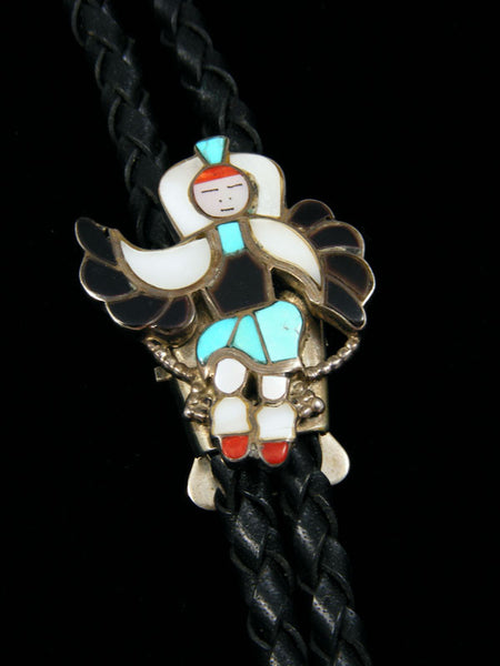 Old Indian Jewelry Zuni Inlay Bolo Tie by Vintage Jewelry - PuebloDirect.com