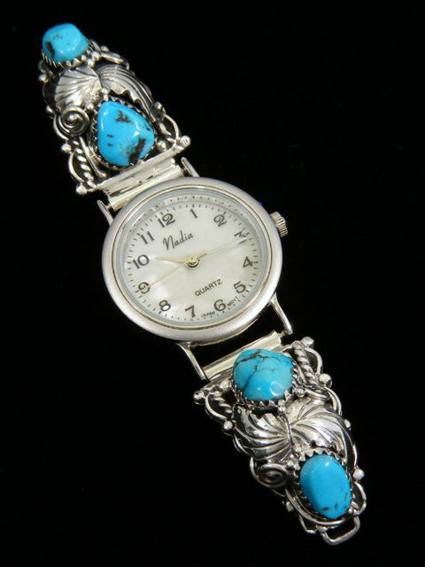 Native American Indian Jewelry Turquoise Ladies' Watch by Navajo Artist - PuebloDirect.com