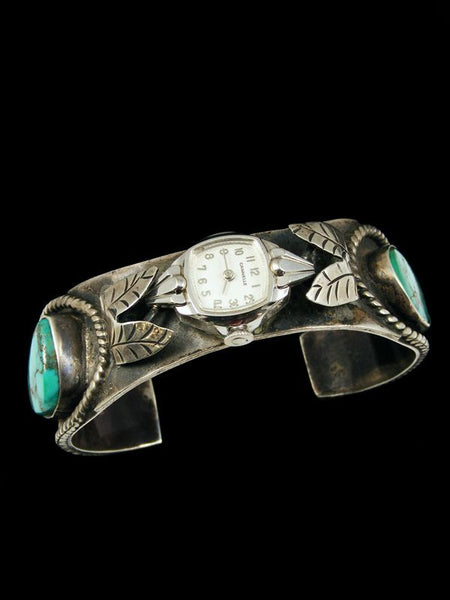 Old Pawn Indian Jewelry Turquoise Sterling Silver Cuff Watch by Vintage Jewelry - PuebloDirect.com - 1