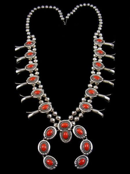 Old Pawn Coral Squash Blossom Necklace