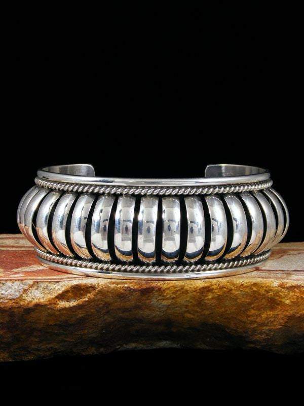 Native American Sterling Silver Bracelet by Priscilla Apache - PuebloDirect.com - 1