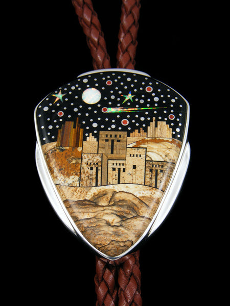 Native American Large Pueblo Starry Nights Inlay Bolo Tie