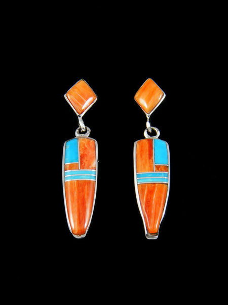 Spiny Oyster and Turquoise Inlay Earrings