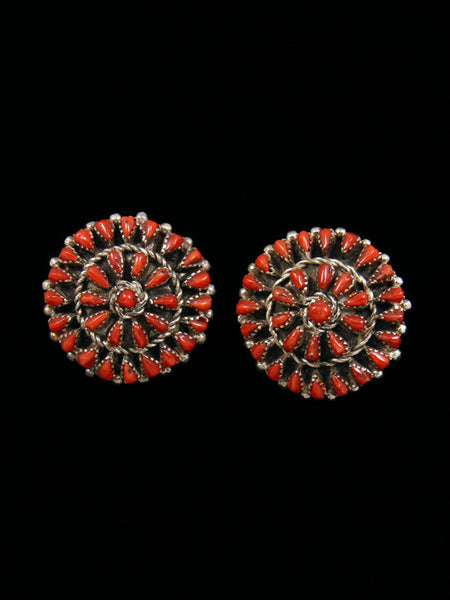 Zuni Natural Coral Petit Point Earrings