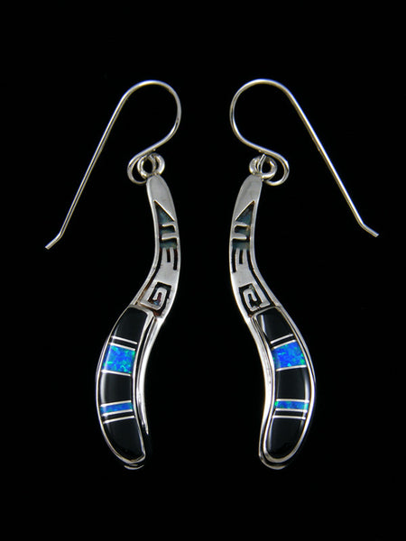 Black Onyx and Opal Inlay Earrings