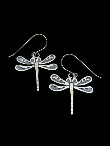 Overlay Dragonfly Sterling Silver Earrings