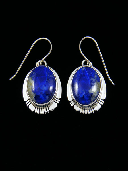 Sterling Silver Navajo Lapis Earrings