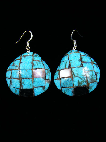 Pink Shell, Jet and Turquoise Santo Domingo Inlay Earrings