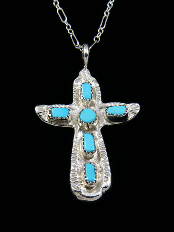 Sterling Silver Zuni Turquoise Cross Necklace