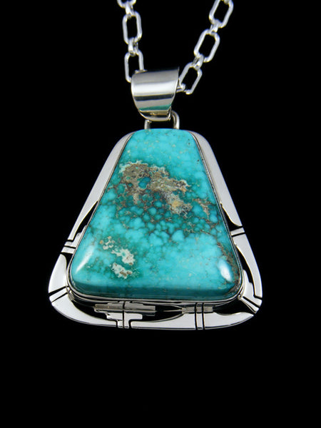 Native American Easter Blue Turquoise Sterling Silver Pendant