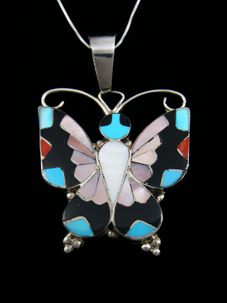 Sterling Silver Native American Zuni Inlay Butterfly Pendant