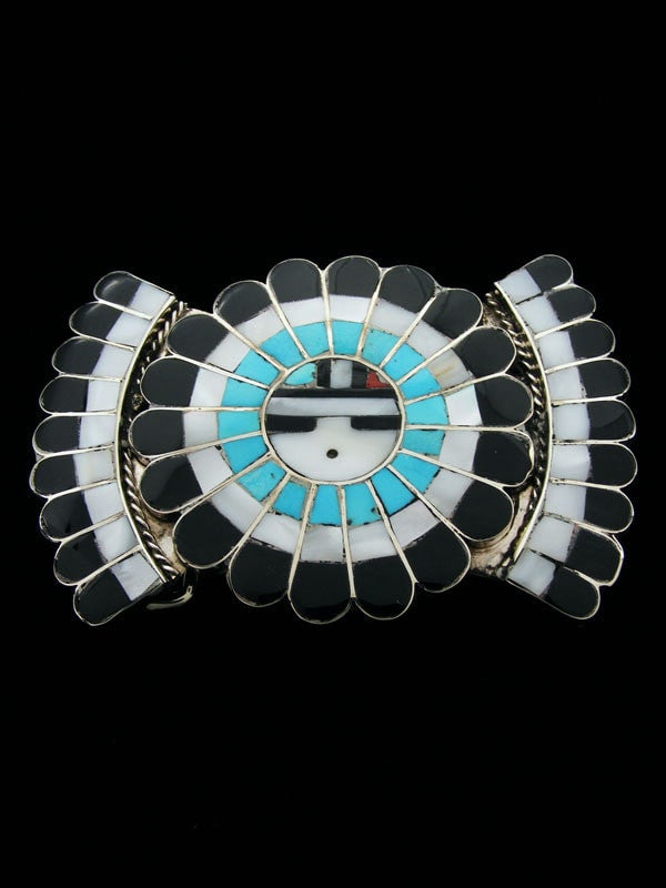 Sterling Silver Zuni Inlay Belt Buckle by Dora Massie - PuebloDirect.com