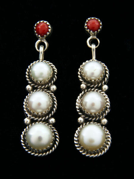 Coral and Pearl Earrings by Navajo Artist - PuebloDirect.com