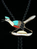 Old Pawn Indian Jewelry Sterling Silver Zuni Inlay Roadrunner Bolo Tie by Edward Beyuka - PuebloDirect.com - 1