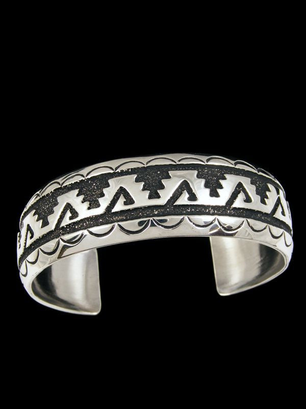 Wide Sterling Silver Bracelet by Tommy Singer - PuebloDirect.com - 1