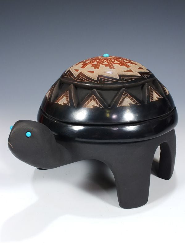 Santa Clara Pueblo Pottery Turtle Figure by Melony Gutierrez - PuebloDirect.com - 1