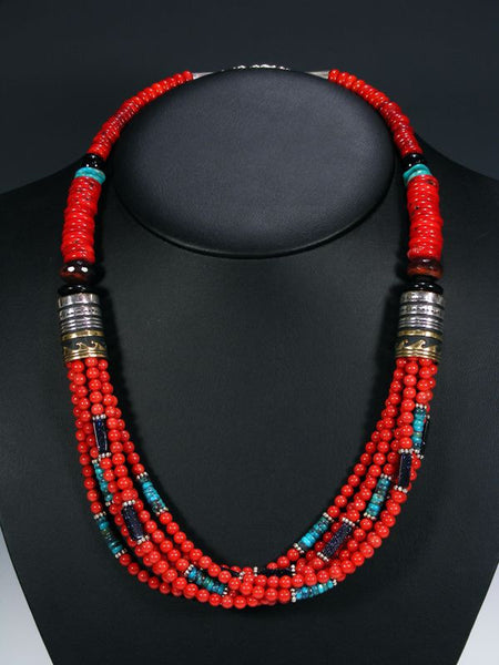 Coral Multistrand Necklace by Tommy Singer - PuebloDirect.com - 1
