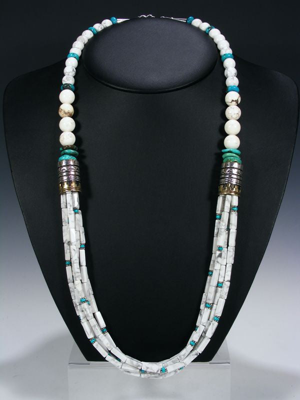 White Marble Multistrand Necklace by Tommy Singer - PuebloDirect.com - 1