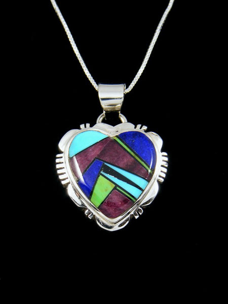 Multi-Stone Heart Inlay Pendant