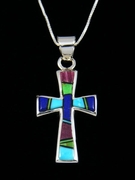 Multi-Stone Cross Inlay Pendant