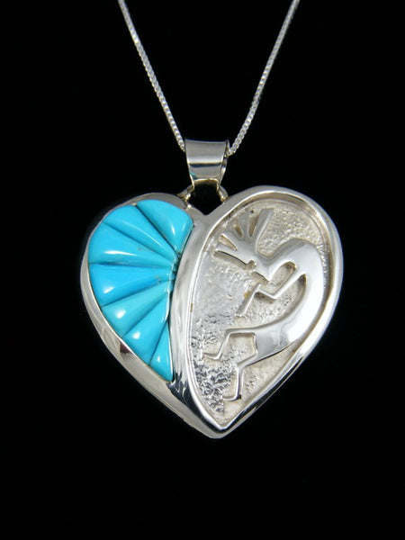 Turquoise Inlay Heart Pendant