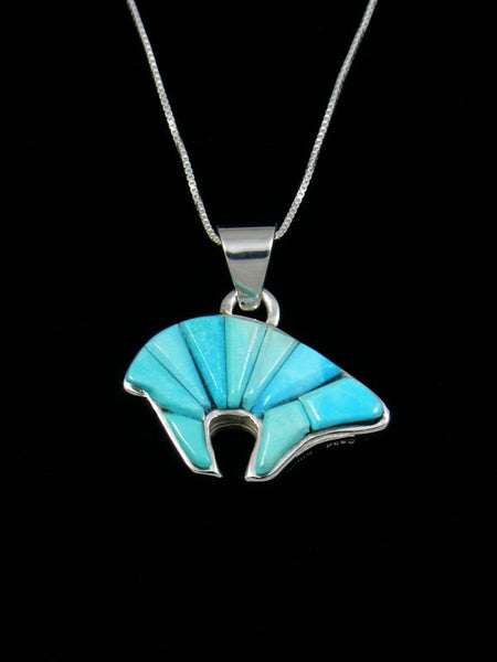 Reversible Turquoise Bear Inlay Pendant