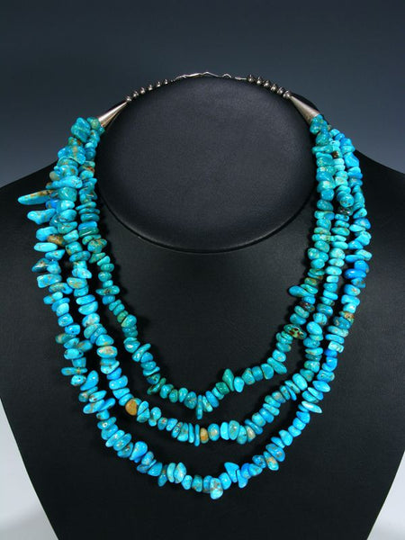 Native American Three Strand Turquoise Necklace by Tammy Nolcott - PuebloDirect.com - 1