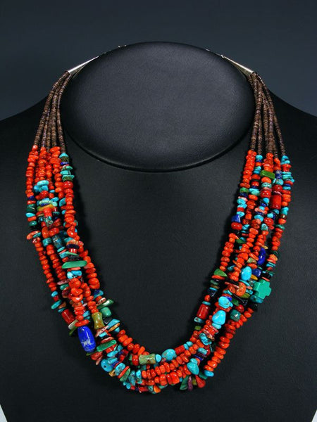 Native American Indian Santo Domingo Necklace by Daniel Coriz - PuebloDirect.com - 1