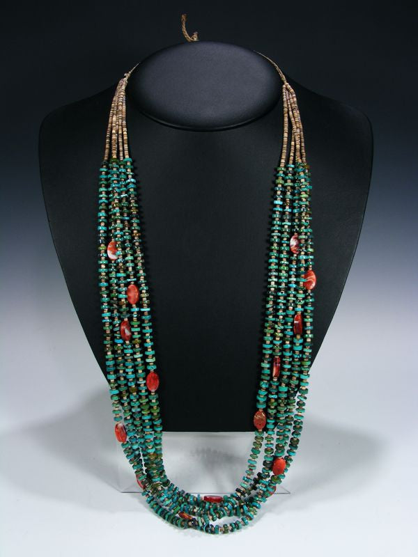 Native American Indian Turquoise 5 Strand Necklace by Alander Seoutewa - PuebloDirect.com - 1