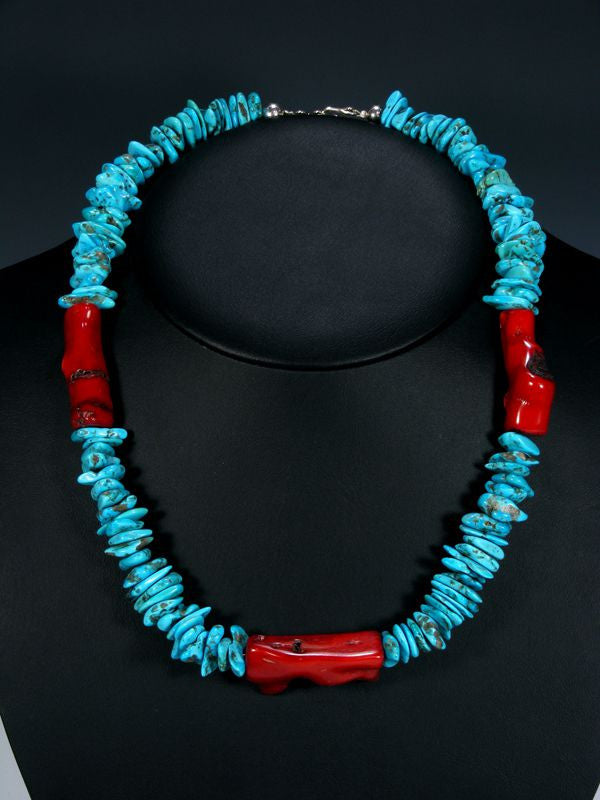 Native American Turquoise and Coral Necklace by Navajo Artist - PuebloDirect.com - 1
