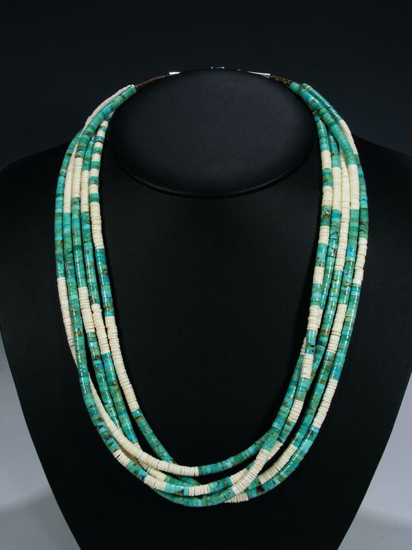 Native American Indian Turquoise 5 Strand Necklace by Navajo Artist - PuebloDirect.com - 1