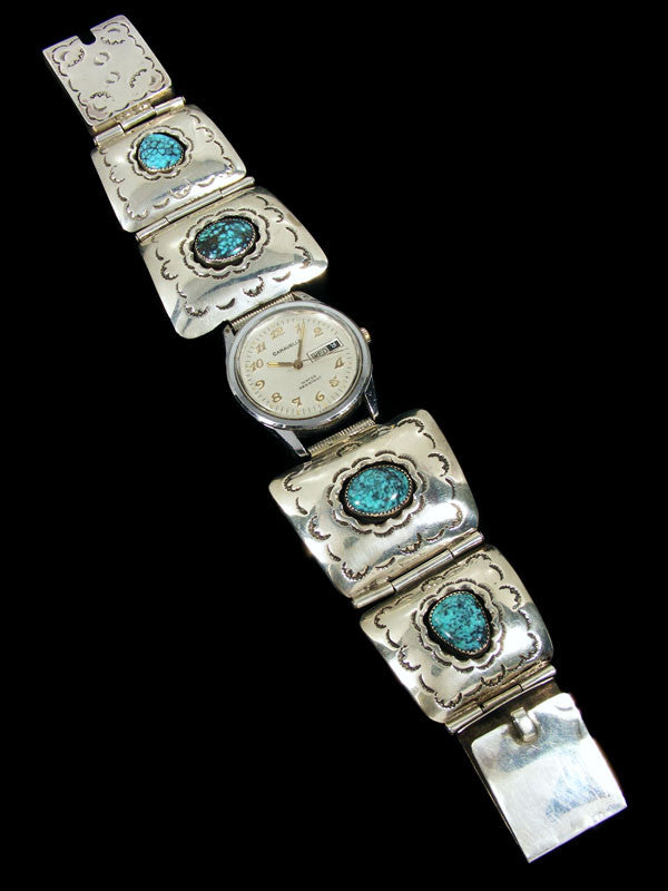 Old Pawn Indian Jewelry Turquoise Link Watch by Vintage Jewelry - PuebloDirect.com - 1