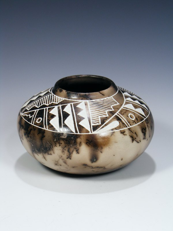 Etched Horsehair Pottery Bowl