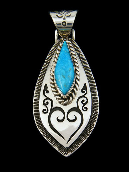 Native American Sleeping Beauty Turquoise Pendant by Kerah Tsosie - PuebloDirect.com