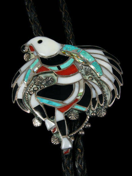 Old Pawn Indian Jewelry Zuni Inlay Bolo Tie by John Lucio - PuebloDirect.com - 1