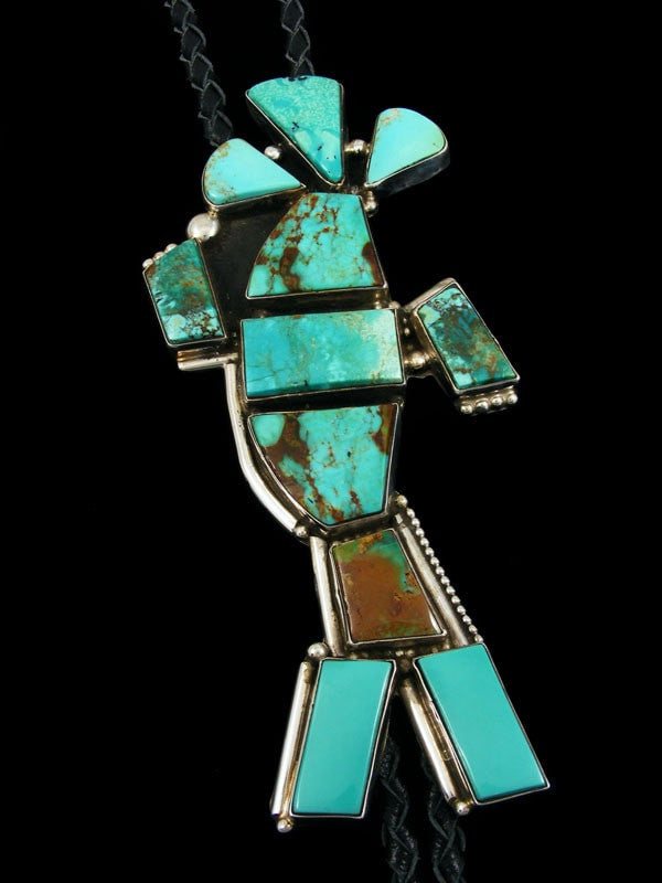 Sterling Silver Turquoise Kokopelli Bolo Tie by Juan Guerro - PuebloDirect.com - 1