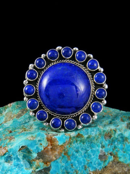 Blue Lapis Sterling Silver Ring, Size 7